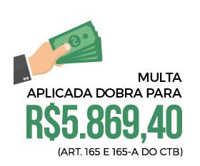 Imagem ilustrada de uma mão segurando dinheiro. Com o texto: Multa aplicada dobra para R$5.869,40
